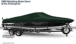 Eevelle Windstorm Boat Cover for Ski Boats with Low Profile Windshield and Outboard Motor
