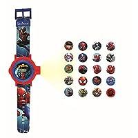LEXIBOOK DMW050SP 可调投影手表数字屏幕 – 蜘蛛侠和他的朋友20张图像 – 适合儿童/男孩 – 红色和蓝色