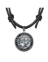 Native Treasure - 圣克里斯托弗黑银色金属黑色皮革可调节绳项链