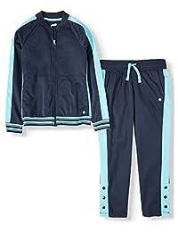 Avia 女孩 2 件套裤子和夹克性能运动运动套装(蓝猫)