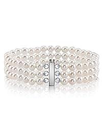 珍珠球 14K 金 6-7 毫米 AAAA 品质圆形白色三重淡水养殖珍珠女士手链