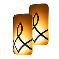 GE SleepLite LED 琥珀夜燈,2 個裝,插入式,蠟燭發光,遠/低可調光,黃昏到黎明傳感器,褪黑素,天然*輔助,臥室,育兒室,浴室,油面青銅,46453