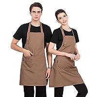 CaserBay 防水专业烹饪围裙厨房围裙可调节围兜带口袋适合女士男士厨师