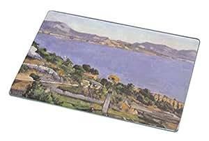 Rikki Knight RK-LGCB-3390 Paul Cezzane Art L'Estaque Vue Du Golfe De Marseille Glass Cutting Board, Large, White