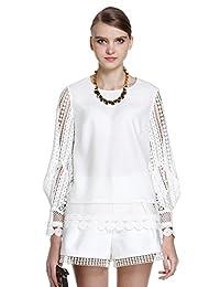 Five Plus 女式 镂空刺绣拼接长袖薄雪纺衬衫 2HM1015560