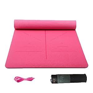 艾米达 无味tpe瑜伽垫加宽80加厚加长初学者健身防滑瑜珈垫三件套 80cm宽【体位线】桃红+网带