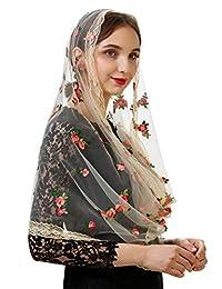 Pamor Little Flower Infinity 面纱围巾 刺绣 教堂面纱 头部覆盖拉丁曼蒂拉