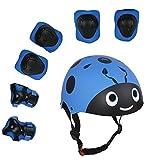 Lucky-M 儿童 7 件户外运动防护装备套装 男孩女孩自行车头盔*垫套装 [膝盖和肘部护腕] 滚轮滑板车自行车(3-8 岁)