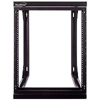 NavePoint 12U 壁挂式 IT 开放式框架 48.26 厘米机架带摆出铰链门黑色
