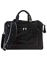 Tony Perotti Mens Italian Cow Leather Napoli Laptop Zip-Around Double Compartment Leather Briefcase