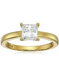 platinum-plated 标准纯银 princess-cut 施华洛世奇锆石单钻订婚戒指  Yellow-gold-plated 6