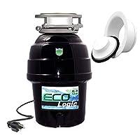 Eco Logic EL-10-DS-BK 10 设计师系列食品废弃物处理器,带黑色槽口,1-1/4 HP White Sink 法兰 3/4 Horsepower EL-9-DS-WH