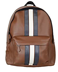 Coach蔻驰 CHARLES 背包,带有多种条纹,F23214,SADDLE/MIDNIGHT NVY/CHALK/黑色 ANTIQUE NIC