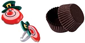 Dress MY cupcake dmc41s-900set-std-brwn 标准棕色烘焙护垫与圣帕特里克节精灵 FACE 戒指垫, CASE OF 144