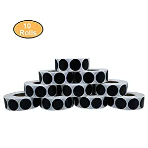 Aleplay 圆形黑色编码圆点贴纸天然纸张贴纸粘性标签 每卷 1,000 张 10 Rolls 黑色