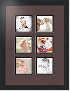 ArtToFrames 字母摄影相框带 6-4x4 开口。 黑色缎面相框 Peat 4x4 Double-Multimat-94-776/89-FRBW26079
