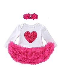 新生儿女婴情人节服装长袖心形印花连身衣薄纱芭蕾舞短裙公主裙女装 2 件套