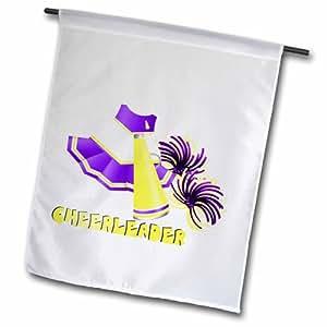 3dRose fl_165479_2 紫色和金色啦啦队服装卡通花园旗,45.72 x 68.58cm