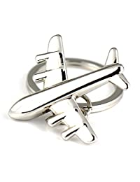 Maycom Fashion Polished Silver Aircraft Airplane Air Plane Model Metal Keychain Key Chain Ring Keyfob Keyring Keyrings