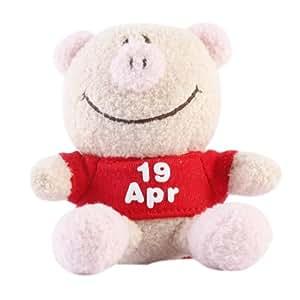 香港UJI 猪排公仔 365天日期生日/纪念日毛绒挂件玩偶汽车挂件 8.5cm 4月19日