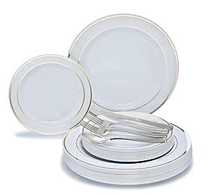 适用场合 360 件/ 60 名客人婚礼一次性塑料板和银色组合套装 White/Gold Rim plates, silver silverware 720 pcs (120 guests)