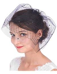 Aimier 新娘面纱 水晶珍珠梳子 白色双层鸟笼头纱 适用于婚礼