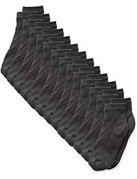 Hanes Ultimate Boys' Big 12-Pack Ankle Socks, Black, Large (Shoe Size: 3-9)
