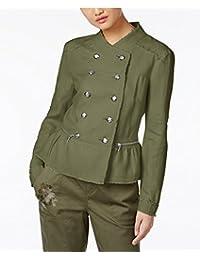INC International Concepts 女士亚麻荷叶边军装夹克橄榄色 S 码