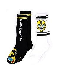 变形金刚男孩2个装船袜 ( 6–8, AUTOBOTS 黑色 / 白色 )
