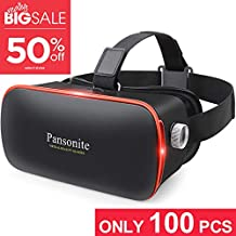 Pansonite Vr 耳机带遥控器,3D 眼镜虚拟现实耳机适用于 VR 游戏和 3D 电影,适用于 iPhone 和 Android 智能手机的眼部保护镜头,4.7 英寸-6.0 英寸 黑色