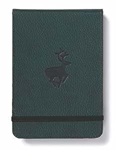 dingbats * 野生动物 Pocket A6 + 精装记事本 – PU - 皮革 , mikroperf oration 100 GSM 奶油色页 , 衣服 , 橡胶表带搭扣 Grüne Hirsche,Kariert Kariert Green Deer