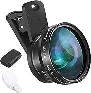 Neewer 手機相機鏡頭夾扣式手機相機鏡頭套件 - 0.43 倍廣角鏡頭,15 倍微距鏡頭,鏡頭夾,迷你 LED 燈,包裝盒,兼容 iPhone、Galaxy、Note、Google Pixel,華為