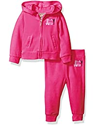 Juicy Couture 橘滋 女童丝绒连帽夹克+裤子2件套 粉色 2岁