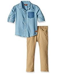 7 For All Mankind 男童长袖牛仔运动衬衫斜纹短裤套装