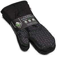 Xlnt 高级防滑硅胶烤箱手套,耐热,Teflon 环保精英表面,悬挂环,非常适合家庭或商业使用 黑色 XLT-OM-BLK