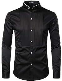 ZEROYAA 男士修身长袖礼服衬衫/舞会表演衬衫
