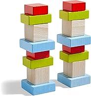 HABA 305455 3D堆积木游戏(平方4),4种颜色的16块积木,16张建筑模板卡,适用于3岁以上儿童