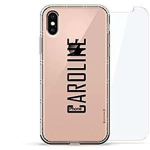 豪华设计师,3D 印花,时尚气袋垫,360 度玻璃保护套装手机壳 iPhoneLUX-IXAIR360-NMCAROLINE2 NAME: CAROLINE, MODERN FONT STYLE 透明