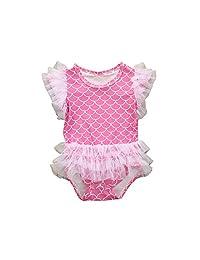 新生儿女婴夏季泳衣沙滩装蕾丝门襟褶皱美人鱼连体泳衣套装