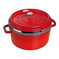 Staub 珐琅铸铁炖锅40510-601-0 Cocotte / roaster,圆形 带蒸格,26厘米,5.2升,黑色珐琅内壁,樱桃红