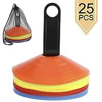 Yaegoo 圆锥套装,25 件,敏捷性足球锥,带便携袋和支架,用于训练、足球、足球、球、球、运动、儿童