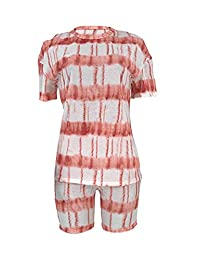 ALLUMK 女式休闲 2 件套扎染印花条纹短袖 T 恤修身短裤套装运动服