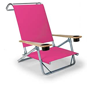 Telescope Casual Original Mini-Sun Chaise Folding Beach Arm Chair with Cup Holders 粉红色