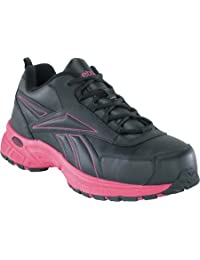 Reebok Womens Black/Pink Leather Athletic Oxford Ateron Steel Toe