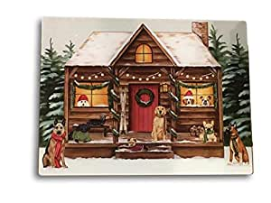 "圣诞砧板假日厨房装饰 - 玻璃 20.32 cm x 30.48 cm 或 38.10 cm x 30.48 cm Dog Lover Lodge 15"" x 12"" Christmas Decor"