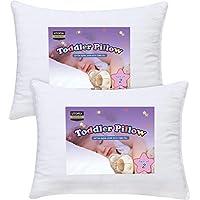 Utopia Bedding 幼童枕头 - 2 件装睡觉婴儿枕 - * 纯棉枕套 - 儿童枕头,雪白 - 33.02 x 45.72 厘米