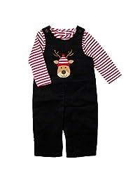 Good Lad 新生儿/婴儿男孩黑色灯芯绒套装带驯鹿圣诞图案
