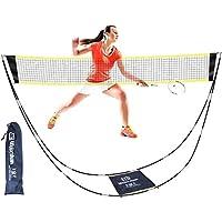 Vemac 羽毛球网便携式支架携带袋可折叠便携式排球网易于安装,适合户外/室内庭院、后院,无需工具或桩子