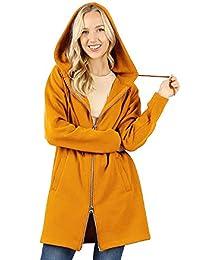 MixMatchy 女士连帽衫超大拉链长款羊毛运动夹克