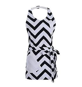 PuTianHome - 可调节厨房厨师围裙带口袋和加长领带 - 商业男士和女士围嘴围裙,适用于烹饪、烘焙、工艺、工作商店、烧烤 Ripple-black 28.5 x 32 Inch 13A00